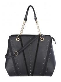 Womens Black Stud Tote Bag