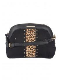 Womens Black Leopard Print Dome Across Body Bag