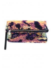 Womens Pink Flip Sequin Clutch Bag