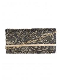 Womens Gold Lace Clutch Bag