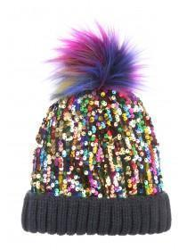 Womens Multicolour Sequin Pom Beanie Hat