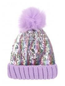 Womens Lilac Sequin Pom Beanie Hat