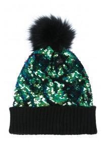 Womens Green Sequin Beanie Hat