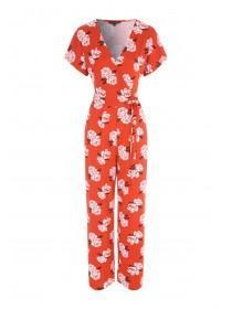 Womens Red Floral Wrap Jumpsuit