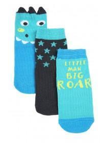 Baby Boys 3pk Blue Dragon Socks