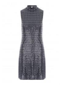 Womens Silver Sequin Metallic Dress