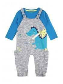 Baby Boys Blue Dragon T-Shirt and Dungaree Set