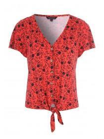 Womens Red Floral Button Up Top