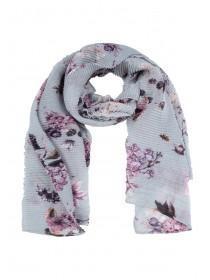 Womens Grey Floral Crinkle Scarf