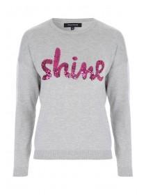 Womens Grey Sequin Shine Slogan Jumper