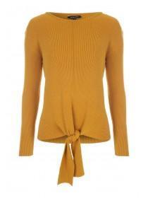 Womens Mustard Tie Front Rib Jumper