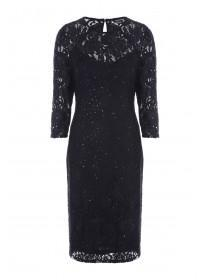 Womens Black Lace and Sequin Dress