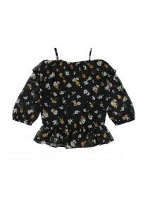 Older Girls Black Floral Chiffon Top