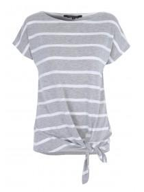 Womens Grey Stripe Tie Front T-Shirt