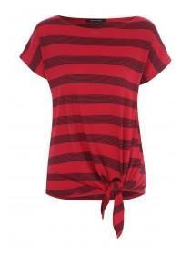 Womens Red Stripe Tie Front T-Shirt