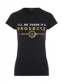 Womens Black Prosecco Slogan T-Shirt