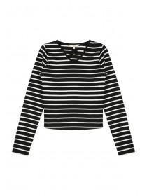 Older Girls Monochrome Stripe Cross Front Rib Top