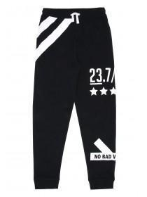 Older Boys Black Oversized Graphic Joggers