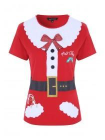 Womens Red Mrs Claus T-Shirt