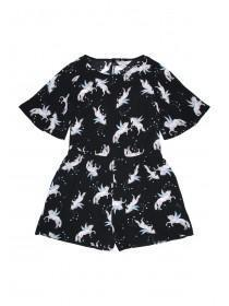 Older Girls Black Unicorn Playsuit