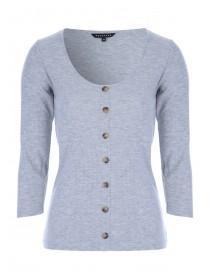 Womens Grey Rib Button Front Top