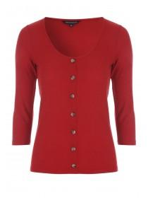 Womens Red Rib Button Front Top
