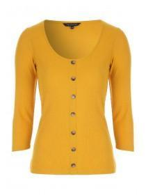 Womens Mustard Rib Button Front Top