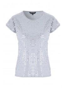 Womens Grey Sequin Front T-Shirt