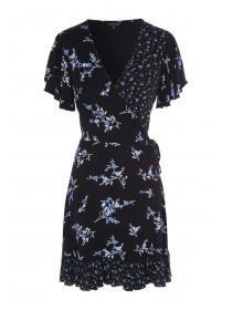 Womens Blue Mix Print Wrap Dress