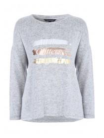 Womens Grey Foil Slogan Top