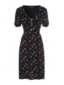 Womens Black Floral Button Detail Dress
