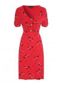 Womens Red Floral Button Detail Dress