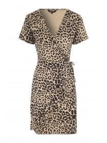 Womens Brown Leopard Print Wrap Dress