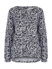Womens Grey Animal Print Top