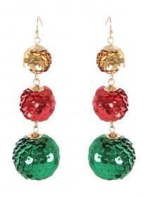 Womens Multicolour Sequin Bauble Earrings
