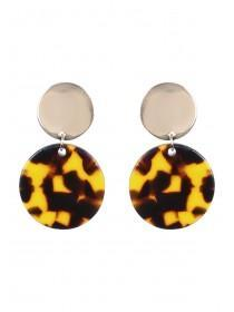 Womens Brown Tortoise Shell Drop Earrings