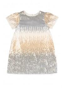 Younger Girls Metallic Sequin Ombre Dress