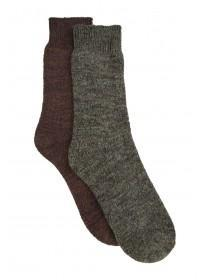 Mens 2pk Brown Thick Socks