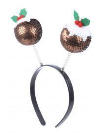 Sequin Christmas Pudding Bopper Headband