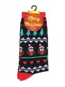 Womens 1pk Black Fairisle Christmas Socks