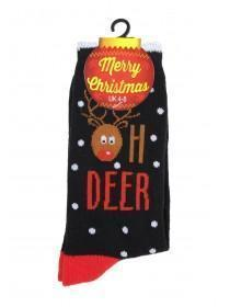 Womens 1pk Black Reindeer Christmas Socks
