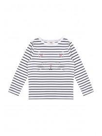 Younger Girls Monochrome Stripe Cat T-Shirt