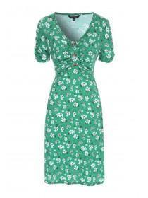 Womens Green Floral Button Detail Dress