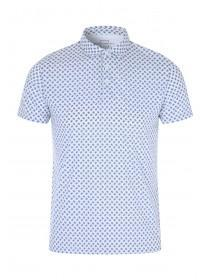 Mens White Geometric Polo Shirt
