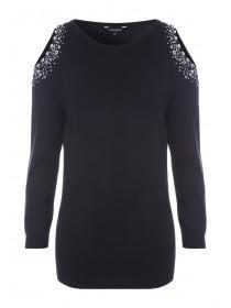 Womens Black Eyelet Detail Cold Shoulder Jumper