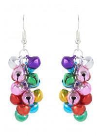 Womens Multicolour Jingle Bell Earrings