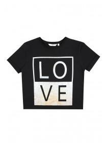 Older Girls Black Slogan T-Shirt