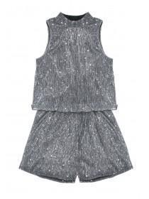 Older Girls Silver High Neck Playsuit
