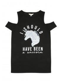 Older Girls Black Unicorn Slogan T-Shirt