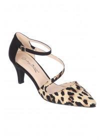 Womens Leopard Print Asymmetric Court Heels